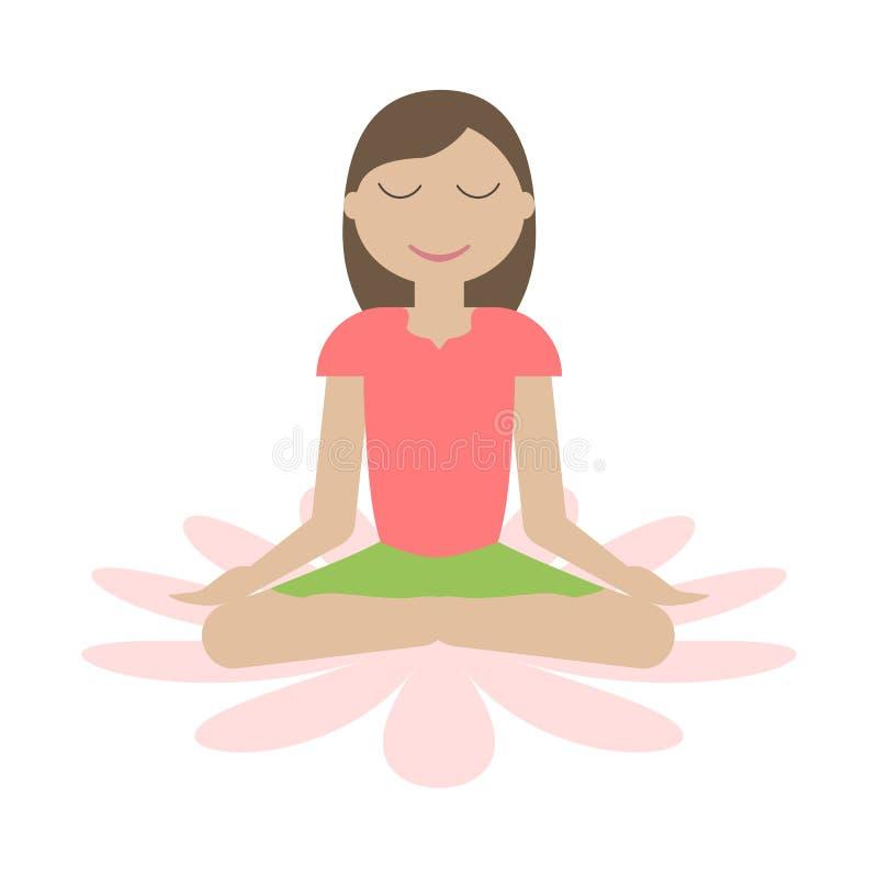 Flickasammanträde i yoga Lotus Position vektor illustrationer