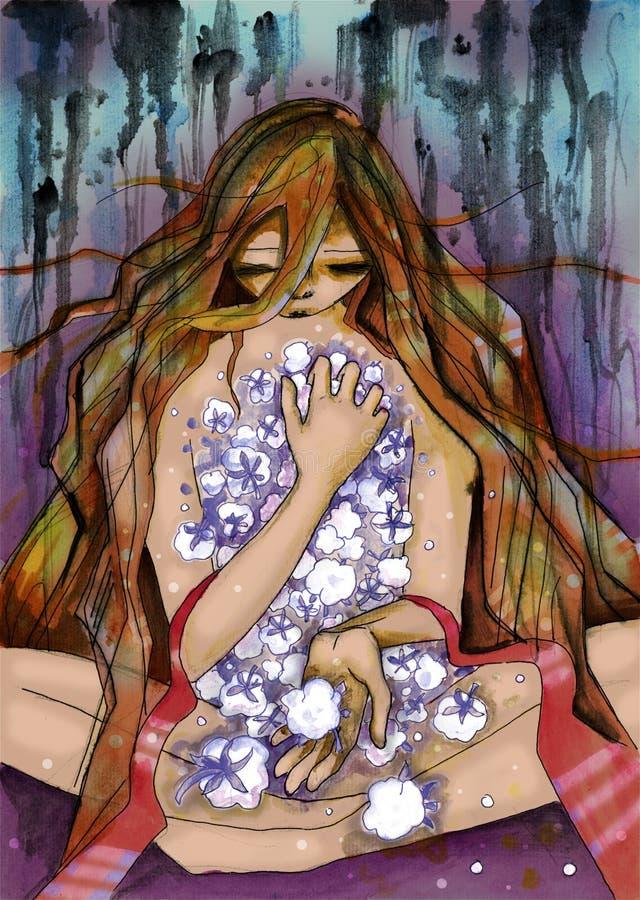 Flickasammanträde på golvet med den öppna såret på hennes bröstkorg stock illustrationer