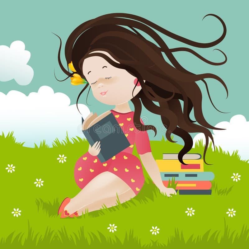 Flickasammanträde på gräs som läser en bok royaltyfri illustrationer