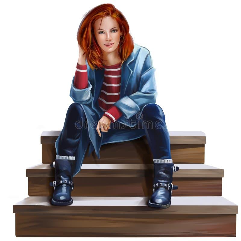 Flickasammanträde på trappavattenfärgteckningen royaltyfri illustrationer