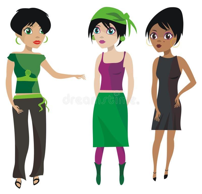 flickasamtal royaltyfri illustrationer