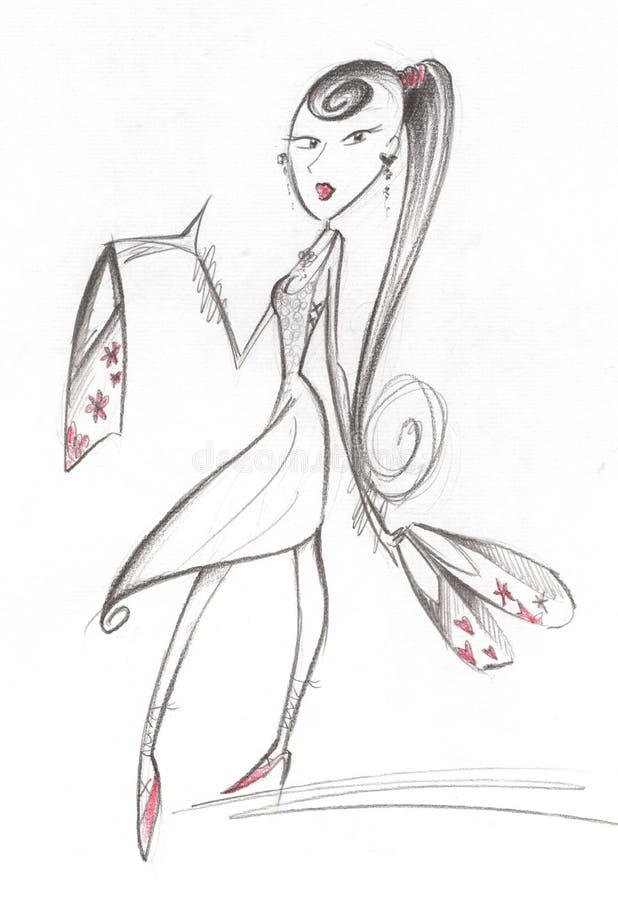 flickashopping royaltyfri illustrationer