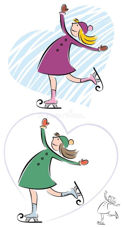 flickaskridskoåkning stock illustrationer