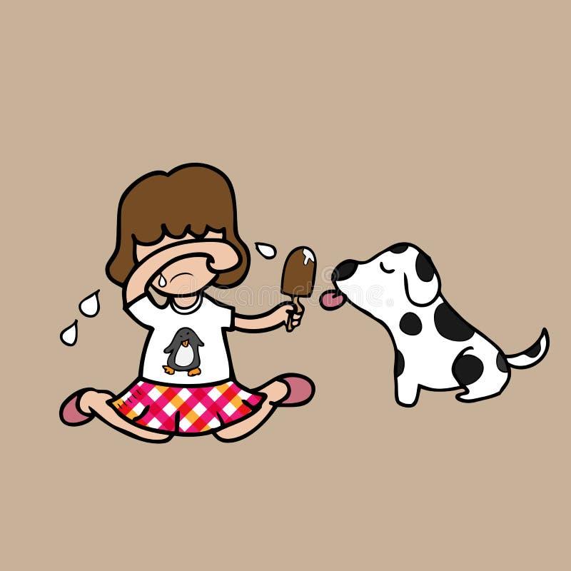 Flickaskrik- och aktieglass med hunden royaltyfri illustrationer