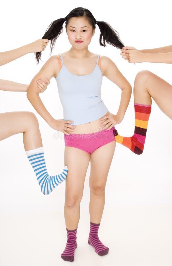 Flickaslagsmål arkivbild