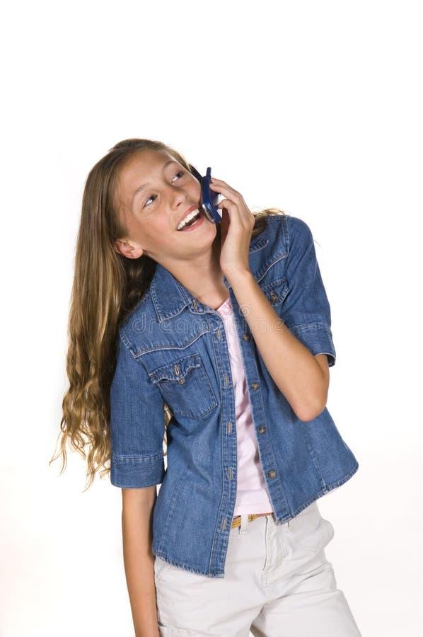 flickatelefonbarn royaltyfria foton