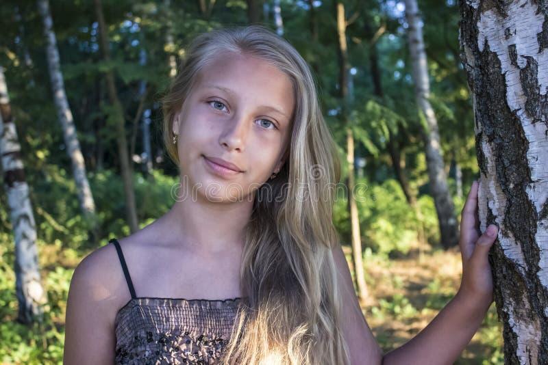 Flickatonåring i en dunge av björkar royaltyfri foto