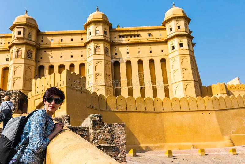 Flickaturist Amer Fort gul fort royaltyfri bild