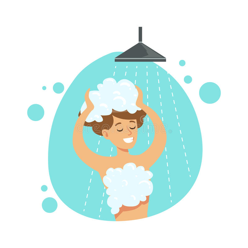 Flickatvagninghår i duschen, del av folk i badrummet som gör deras rutinmässiga hygientillvägagångssättserie vektor illustrationer