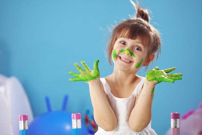 flickaungemålning fotografering för bildbyråer