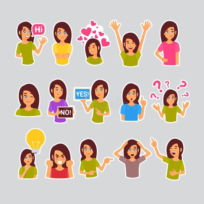 Flickauppsättning av klistermärkear för budbäraren, etikettsymbol färgrika Logo Collection Different Emotion royaltyfri illustrationer