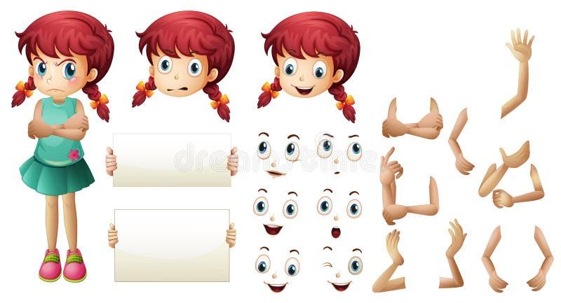 Download Flickauppsättning Med Olika Handgester Och Ansiktsuttryck Vektor Illustrationer - Illustration av barn, unge: 78731273