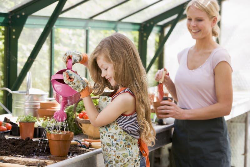 flickaväxthusväxt som bevattnar kvinnabarn royaltyfria foton