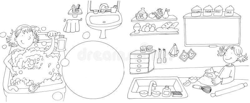 Flickawashes i bad badar, lilla flickan i köket som förbereder en kaka, bergskammen som dras av färg vektor illustrationer