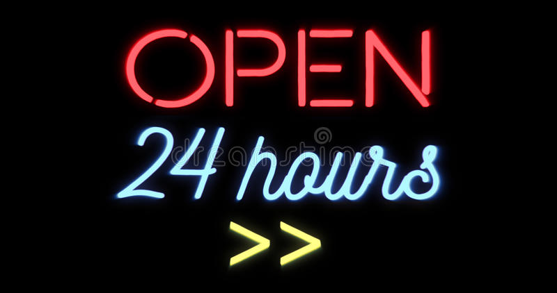 Flickering blinking red and blue neon sign on black background, open shop bar 24 hours sign. Concept stock illustration