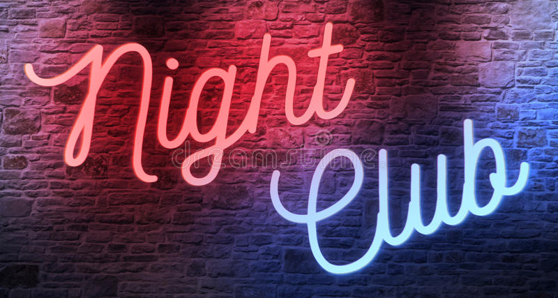 Flickering blinking red and blue neon sign on brick wall background, adult show night club. Sign concept vector illustration
