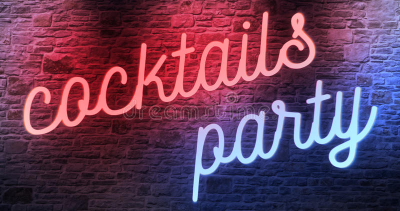 Flickering blinking red and blue neon sign on brick wall background, open cocktails party sign. Concept vector illustration