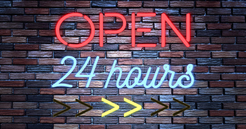 Flickering blinking red and blue neon sign on brick wall background, open shop bar 24 hours sign. Concept royalty free illustration