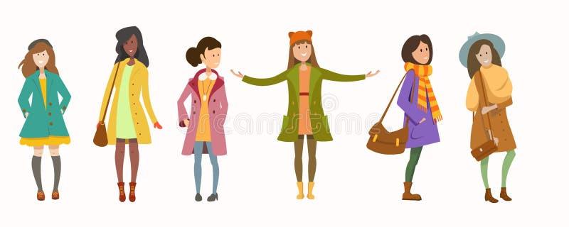 Flickor av differeGirls av olika racesntlopp vektor illustrationer