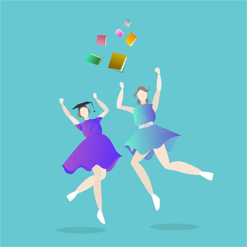 Flickor avlade examen, lyckliga den unga kvinnans ungkarl royaltyfri illustrationer
