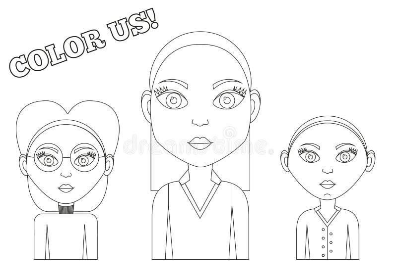 3 flickor - färgläggningbok vektor illustrationer