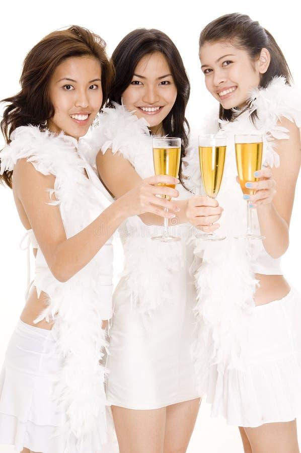 flickor för 1 champagne fotografering för bildbyråer