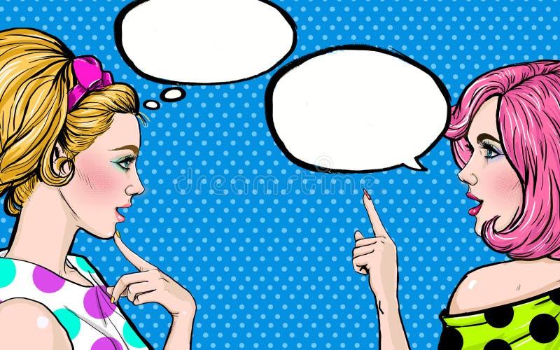 Flickor för popkonst med anförandebubblan Etikett för tetidtappning vektor för illustration för hälsning för födelsedagkort eps10 vektor illustrationer