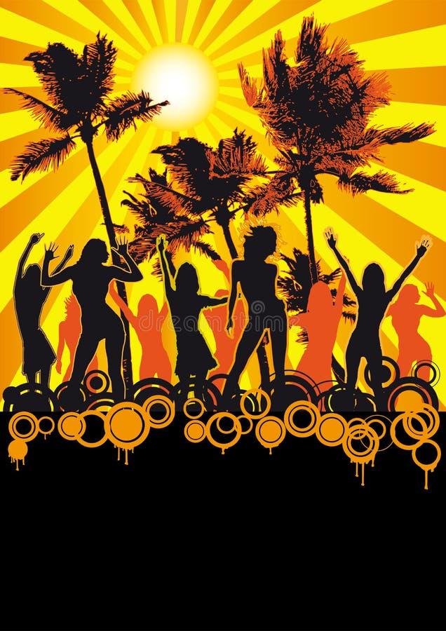 flickor för reklamblad för stranddansdisko gömma i handflatan deltagaren royaltyfri foto