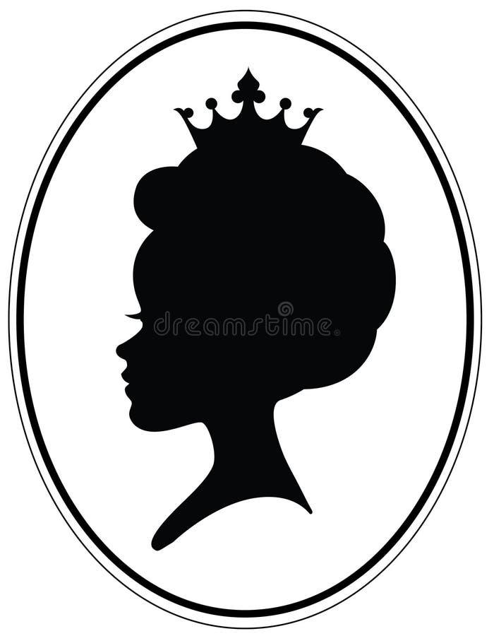 Flickor head med klassisk afro likadan frisyr och kronan royaltyfri illustrationer