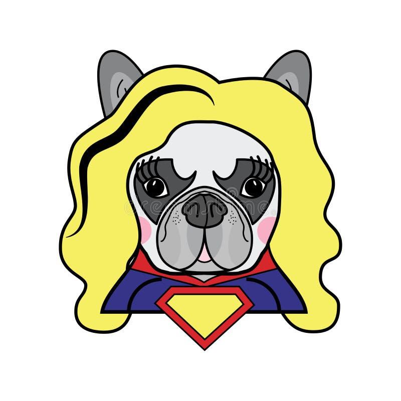 Flickor hyr rum ungar utformar den gulliga för hundsuperheroen för den franska bulldoggen kvinnliga vektorn för teckenet för humo royaltyfri illustrationer