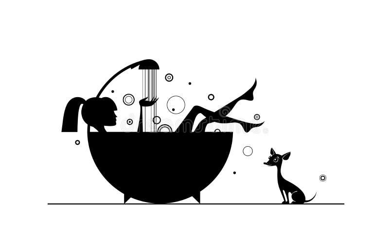 Flickor i badet royaltyfri illustrationer