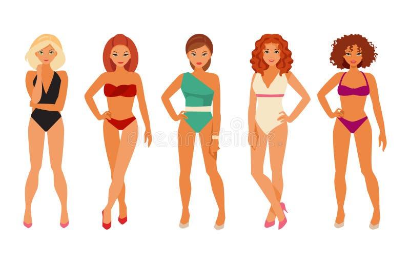 Flickor i bikinier vektor illustrationer