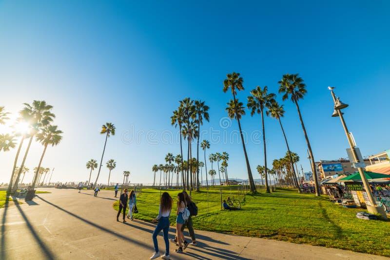 Flickor i den Venedig stranden fotografering för bildbyråer