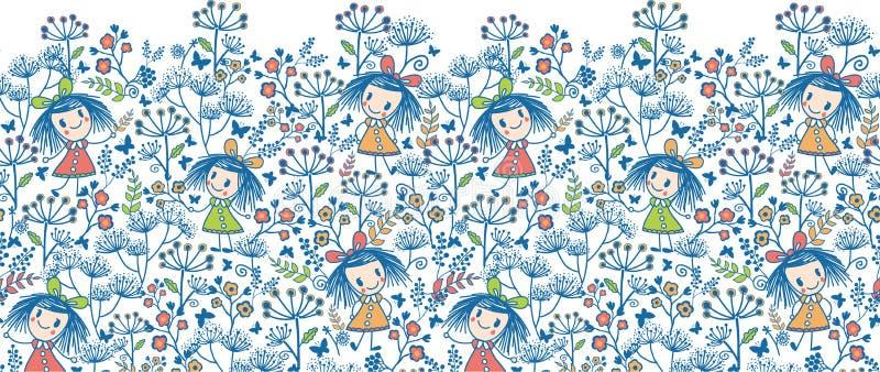 Flickor i det horisontalsömlöst för blommaträdgård stock illustrationer