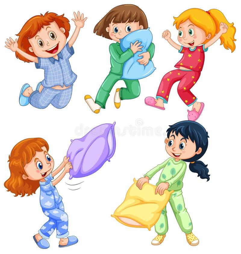 Flickor i pyjamas på slummerpartiet vektor illustrationer