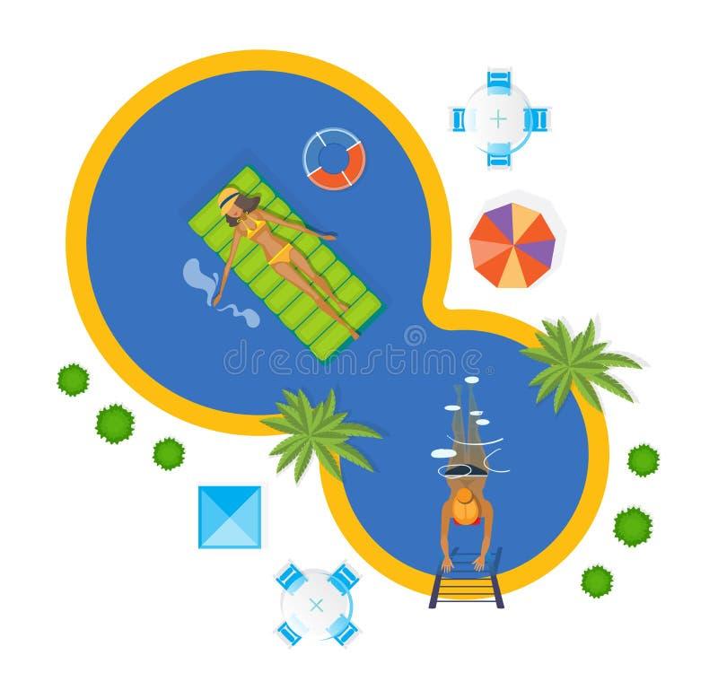 Flickor kopplar av, solbadar, badar i pölen, bad, i sommarväder vektor illustrationer