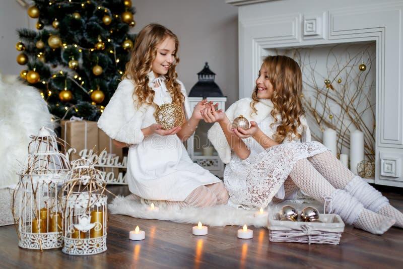 Flickor kopplar samman framme av päls-trädet royaltyfri bild