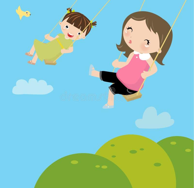 flickor little swing vektor illustrationer