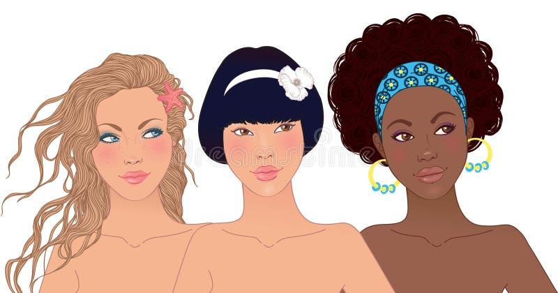 flickor lyckliga nätt teen tre royaltyfri illustrationer