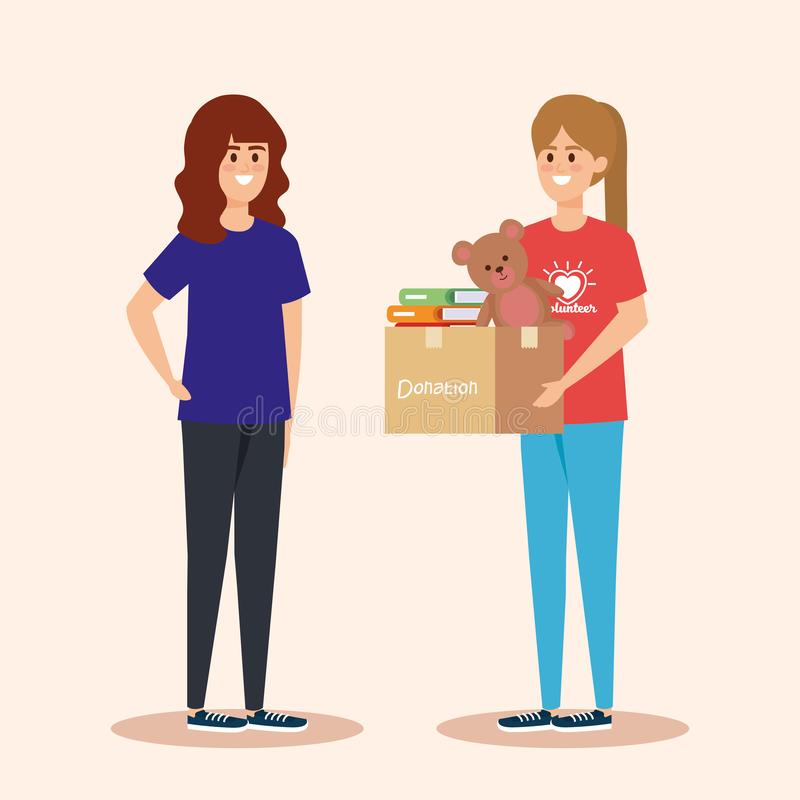 Flickor med askdonation med böcker och nallen stock illustrationer