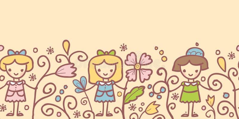 Flickor med blommaden horisontalsömlösa modellen vektor illustrationer