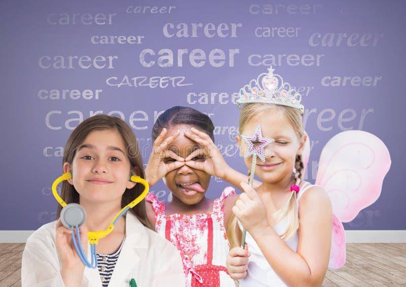 3 flickor med karriärtext med tomt rum med purpurfärgad bakgrund vektor illustrationer