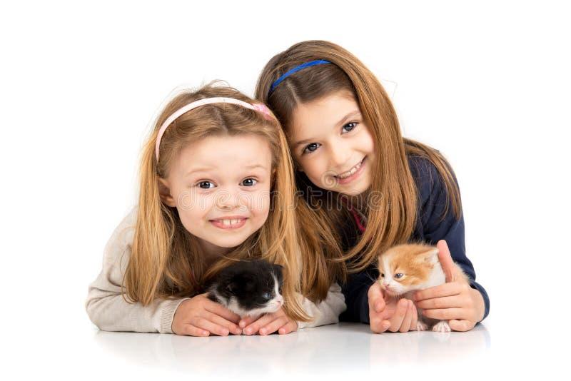 Flickor med kattungar arkivfoton