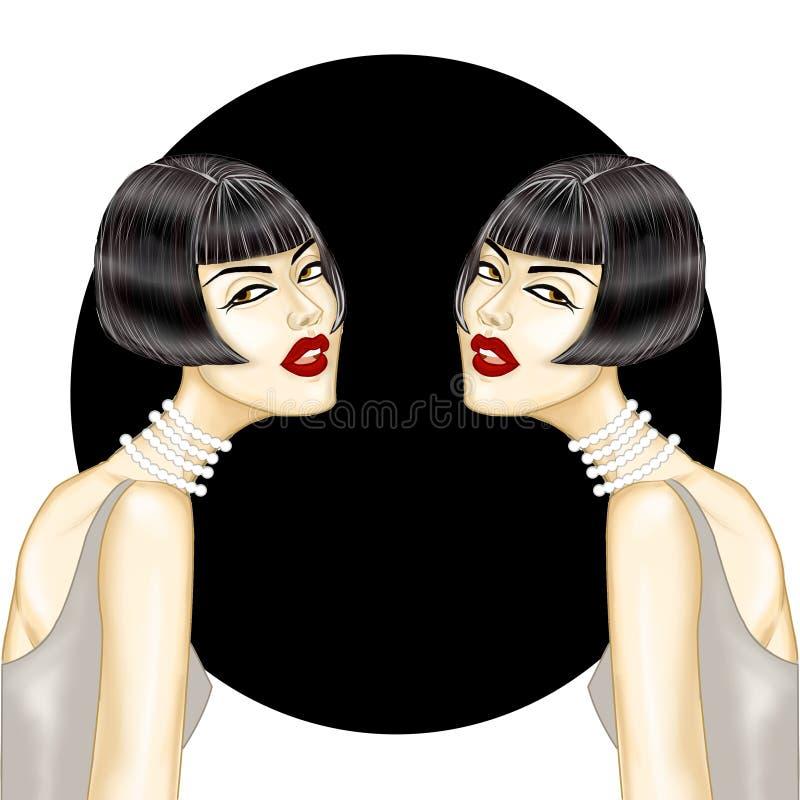 Flickor med svart kort hår på en svartvit bakgrund royaltyfri illustrationer