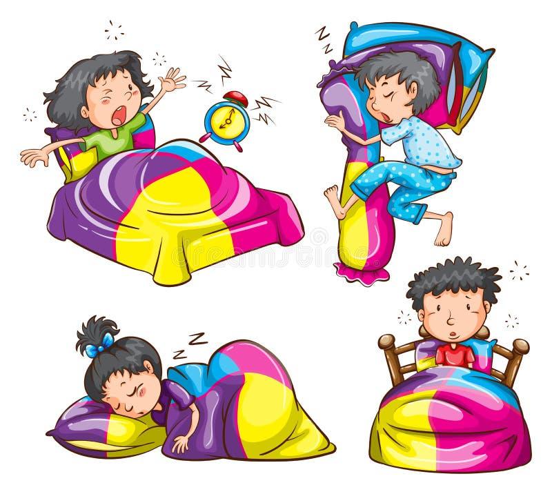 Flickor och pojkar med färgglade filtar och kuddar vektor illustrationer