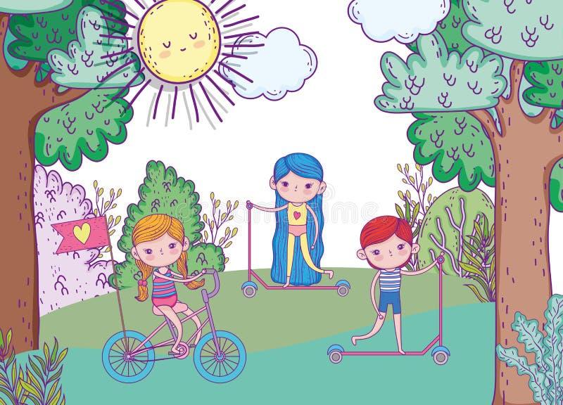 Flickor och spela för pojke och rittcykel och sparkcykel royaltyfri illustrationer