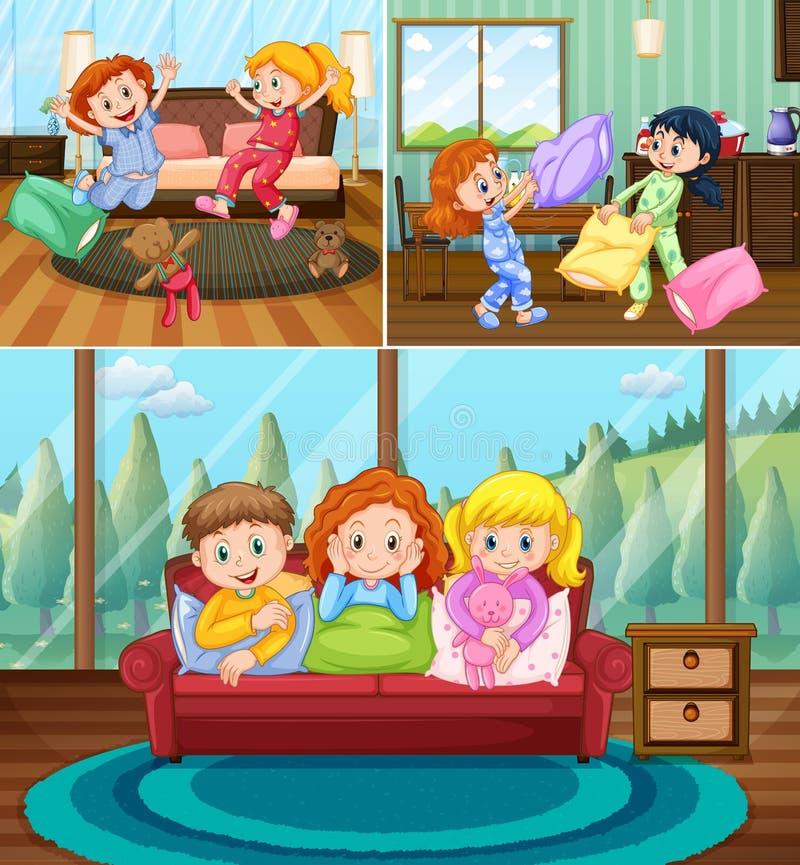 Flickor på slummerpartiet i huset vektor illustrationer