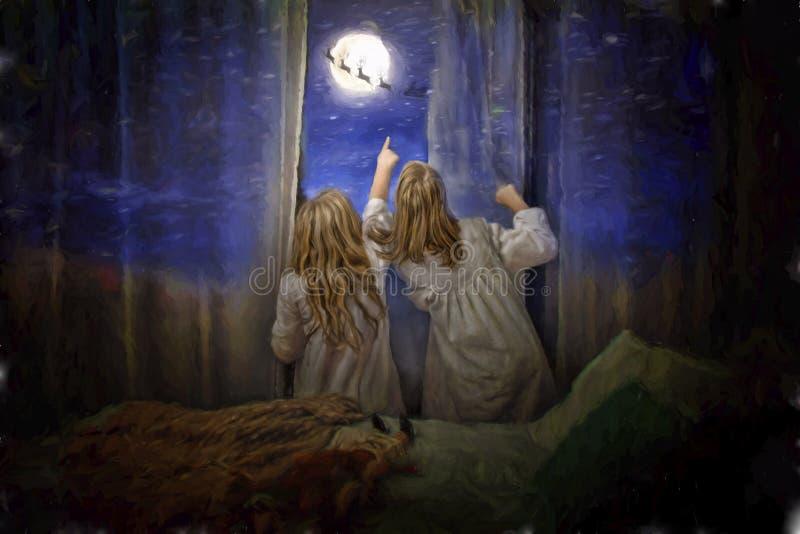 Flickor ser Santa Claus ut ur fönster arkivfoton
