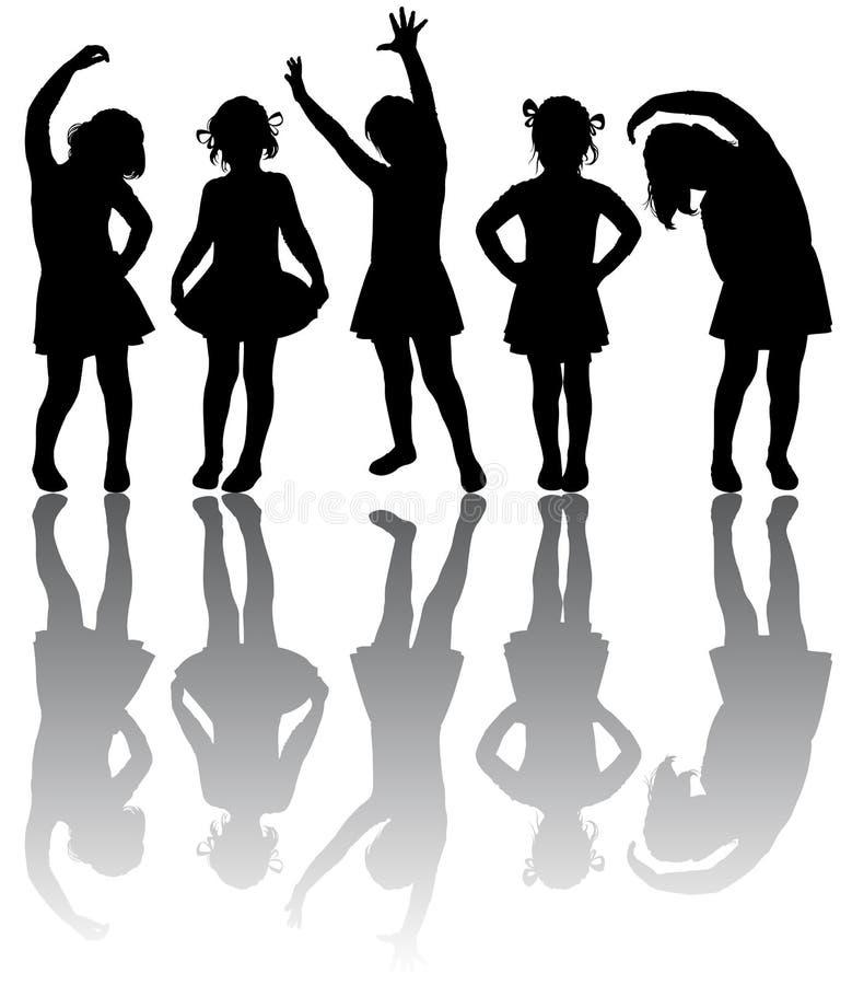 flickor silhouette litet fotografering för bildbyråer