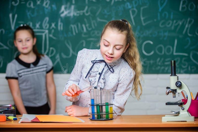 Flickor som arbetar kemiskt experiment Naturvetenskap Bildande experiment Skolagrupper Biologi och kemi arkivfoton